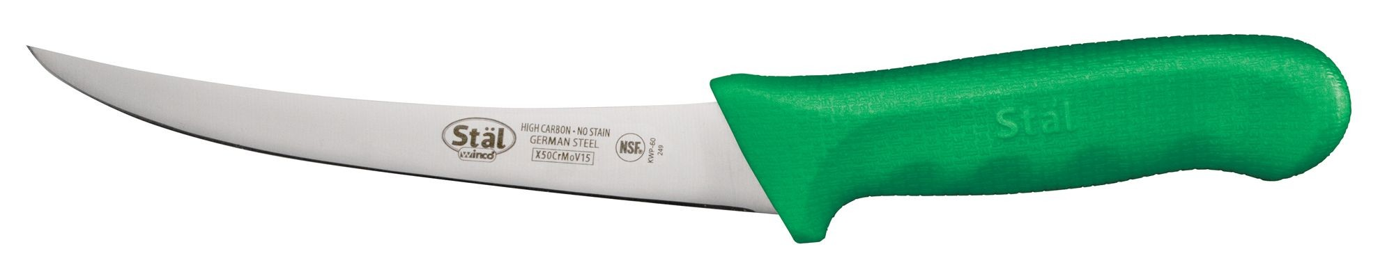 """Winco KWP-60G Curved 6"""" Boning Knife with Green Handle"""