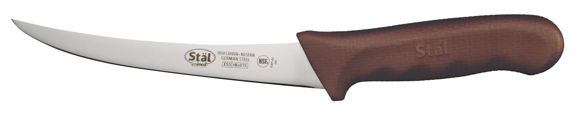 "Winco KWP-60N Curved 6"" Boning Knife with Brown Handle"
