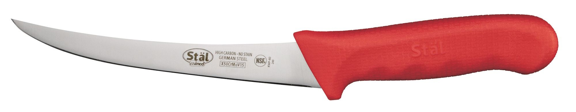 "Winco KWP-60R Curved 6"" Boning Knife with Red Handle"