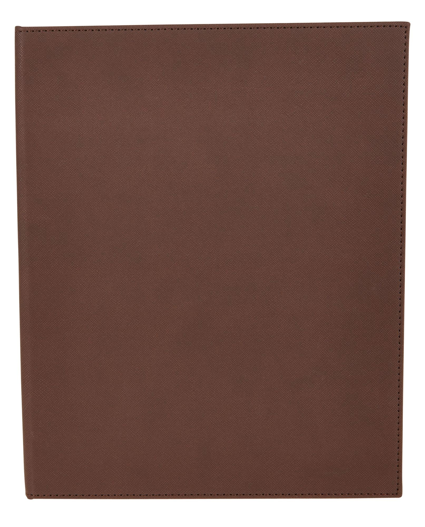 "Winco LMD-811BN 8-1/2"" x 11"" Brown Leatherette Two Panel Menu Cover"