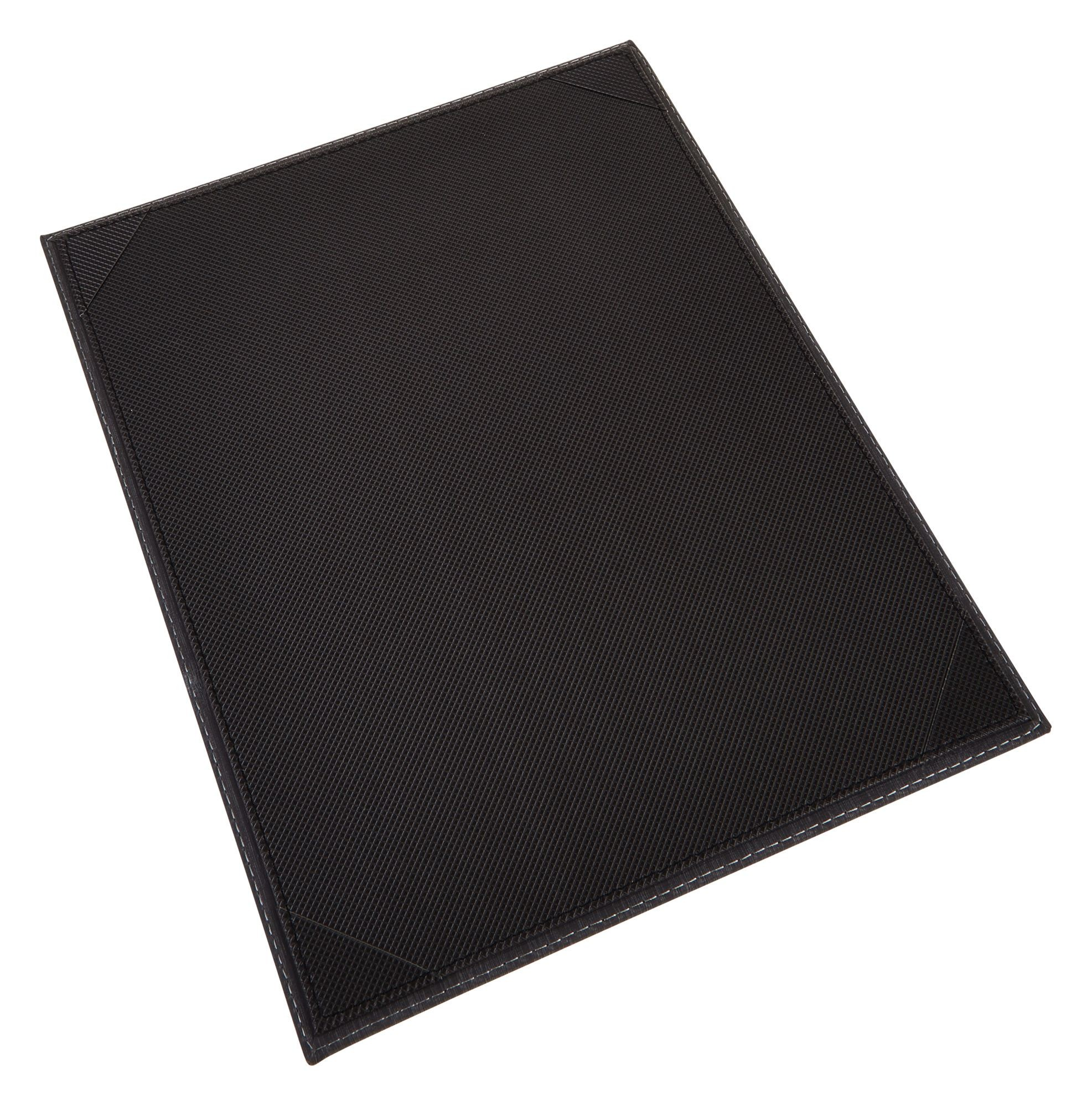 "Winco LMS-811BK 8-1/2"" x 11"" Black Leatherette Single Panel Menu Cover"