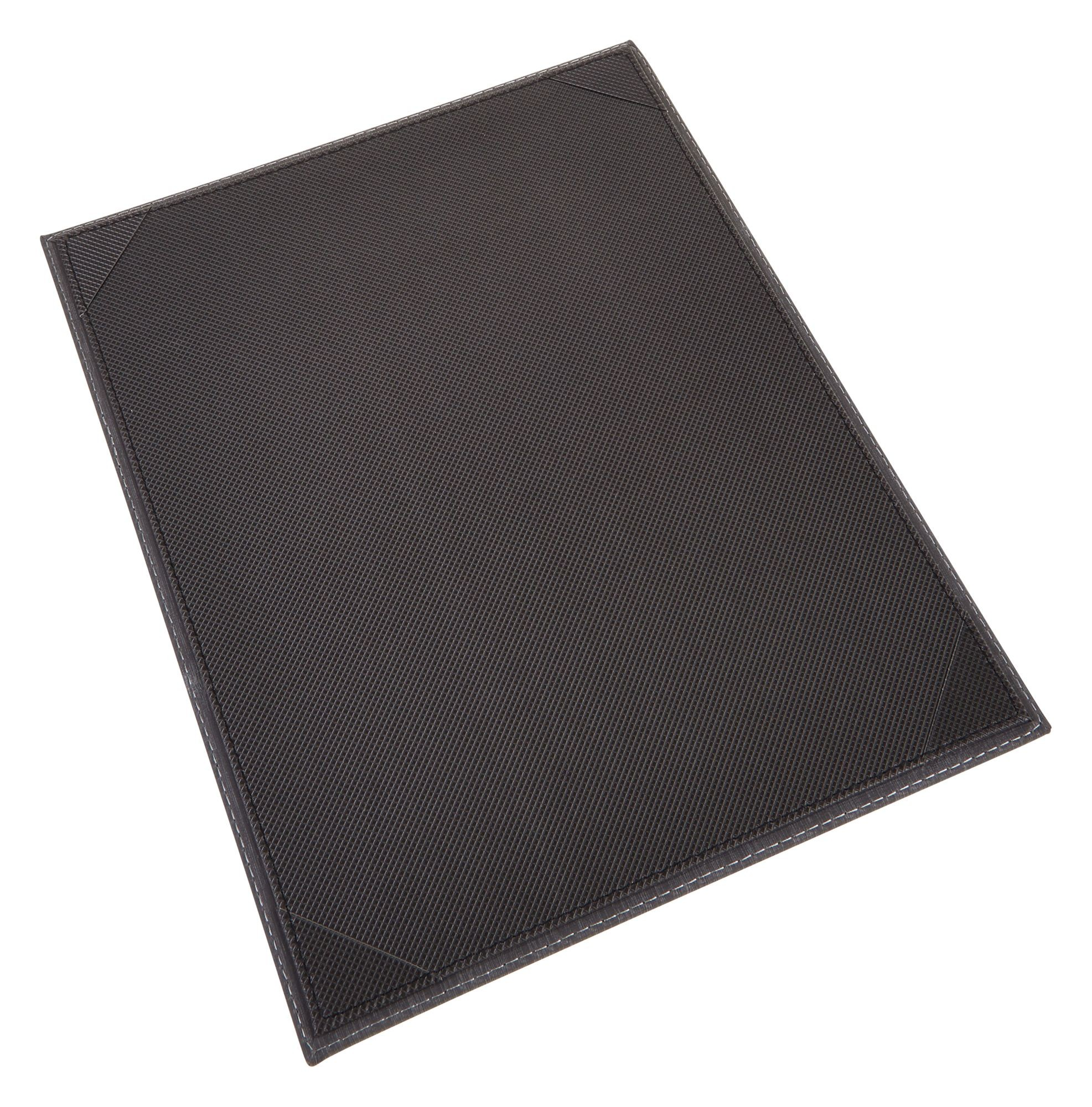 "Winco LMS-811GY 8-1/2"" x 11"" Gray Leatherette Single Panel Menu Cover"