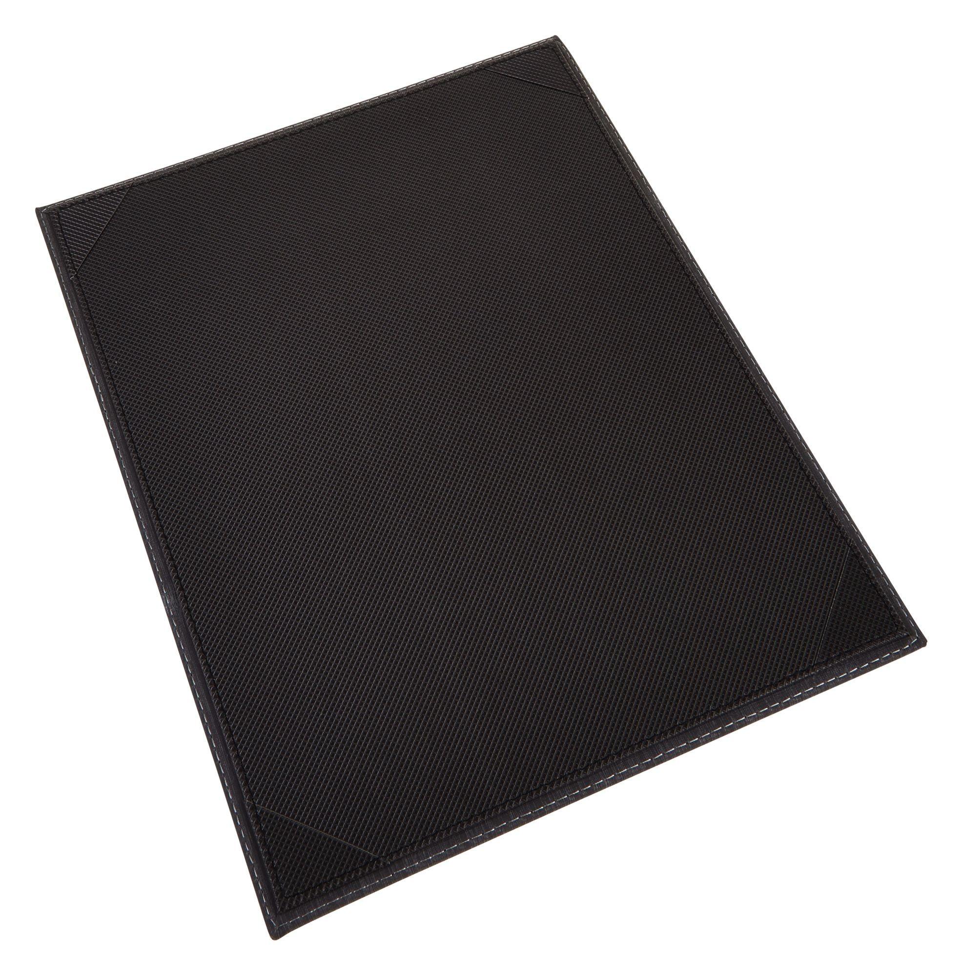 "Winco LMS-814BK 8-1/2"" x 14"" Black Leatherette Single Panel Menu Cover"