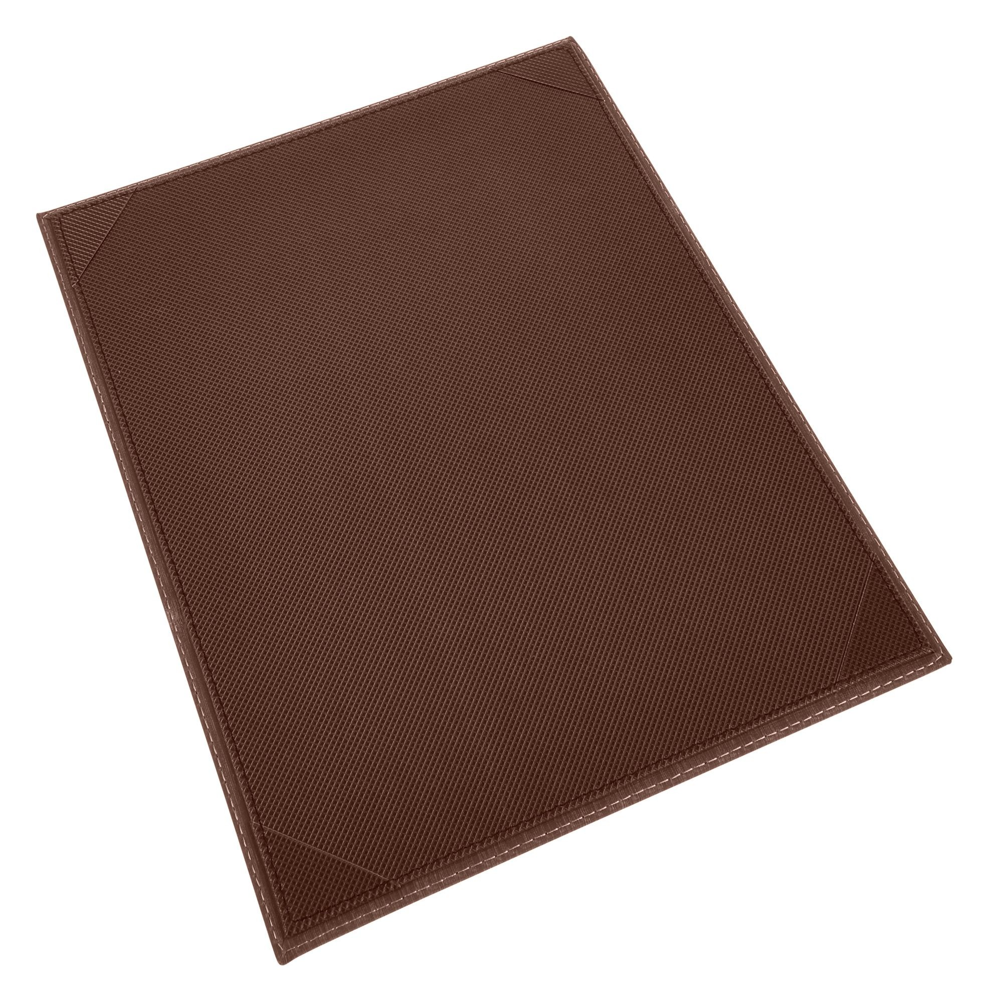 "Winco LMS-814BN 8-1/2"" x 14"" Brown Leatherette Single Panel Menu Cover"
