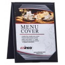 "Winco LMTD-57BK Black Leatherette Dual View 5"" x 7"" Table Menu Tent"
