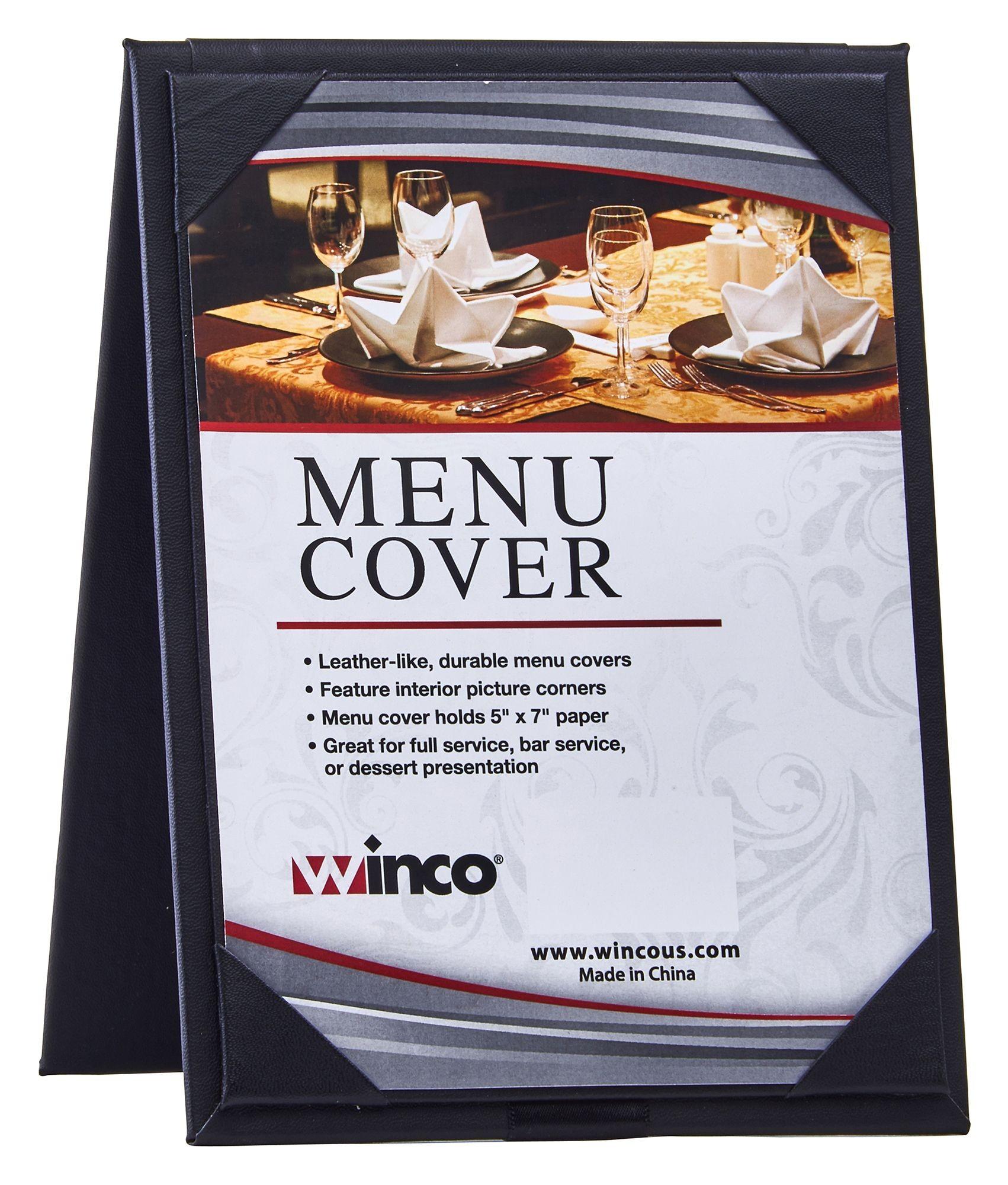 "Winco LMTD-57BK Black Leatherette Dual View 5"" x 7"" Table Menu Tent"