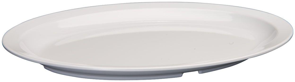 "Winco MMPO-139W White Narrow Rim Melamine Oval Platter, 13-1/4"" x 9-5/8"""