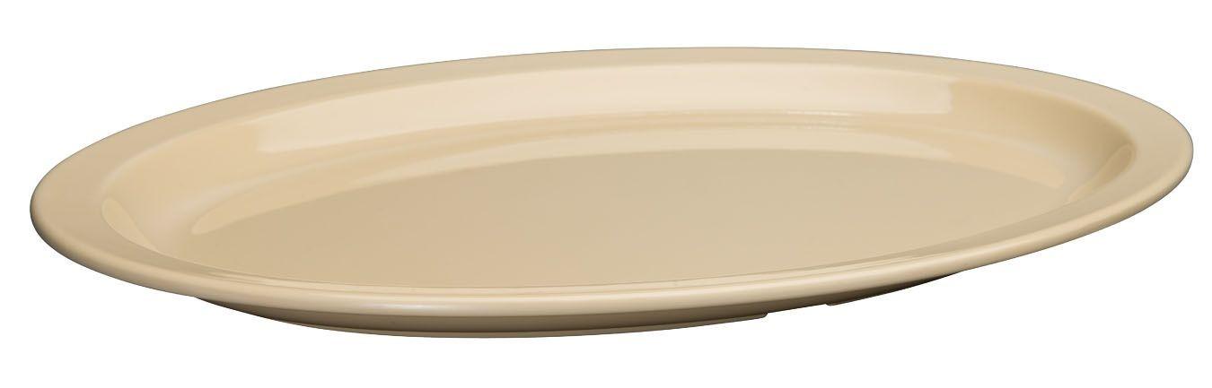 "Winco MMPO-1510 Tan Narrow Rim Melamine Oval Platter, 15-1/2"" x 10-7/8"""