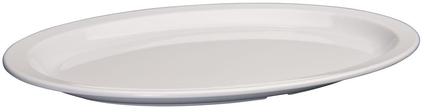 "Winco MMPO-1510W White Narrow Rim Melamine Oval Platter, 15-1/2"" x 10-7/8"""
