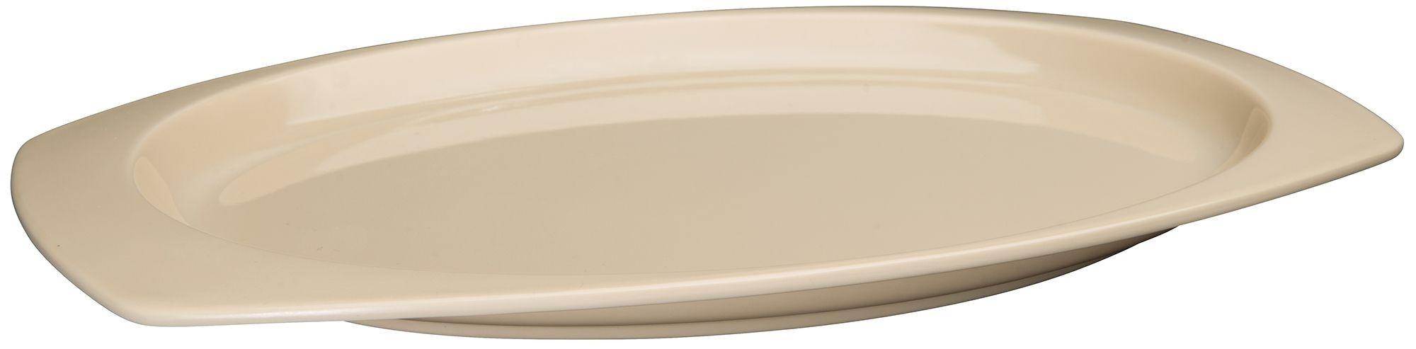 "Winco MMPT-129 Tan Melamine Rectangular Platter, 12-1/2"" x 9"""