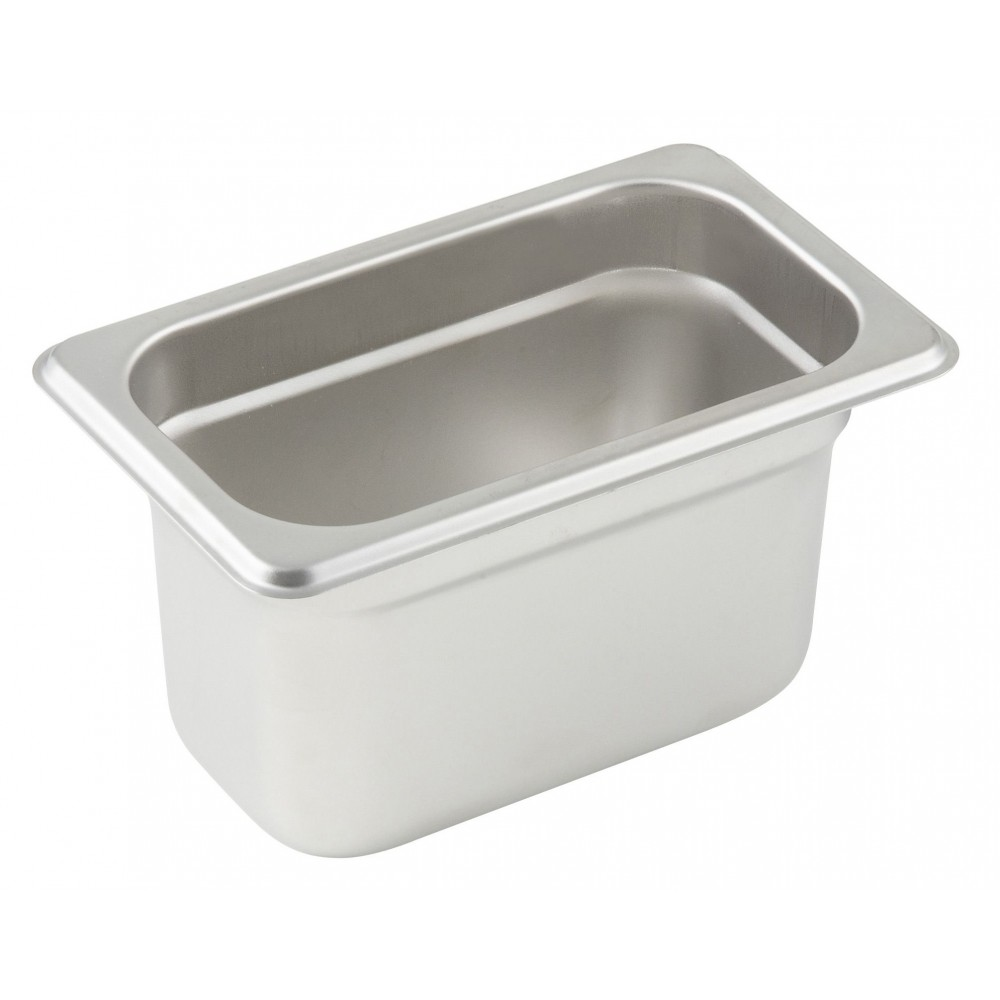 Winco Ninth Size Anti-Jamming Steam Table Pan (25 Gauge, 4