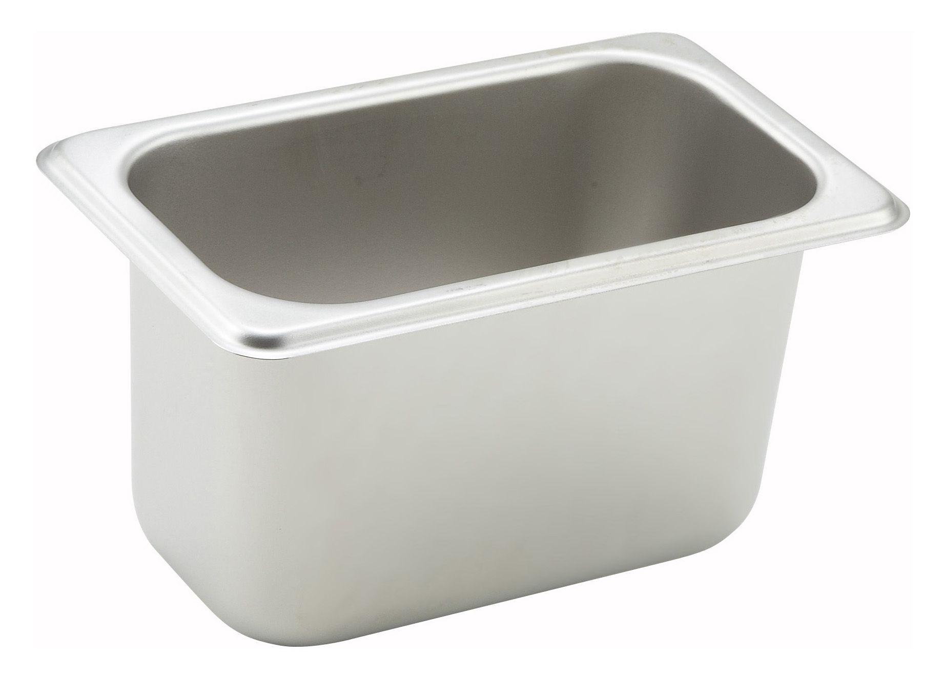 "Winco SPN4 1/9 Size Standard Weight Steam Table Pan 4"" Deep"