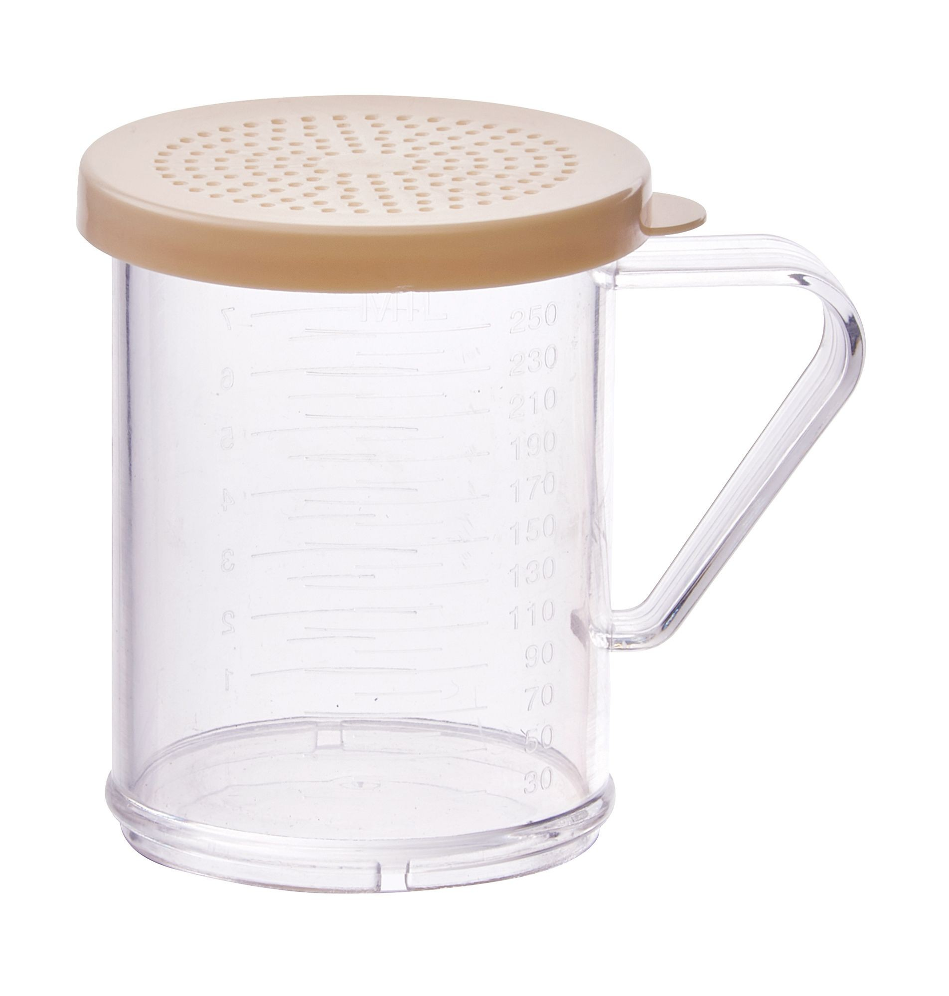 Winco PDG-10B 10 oz. Polycarbonate Dredge with Beige Snap-On Lid