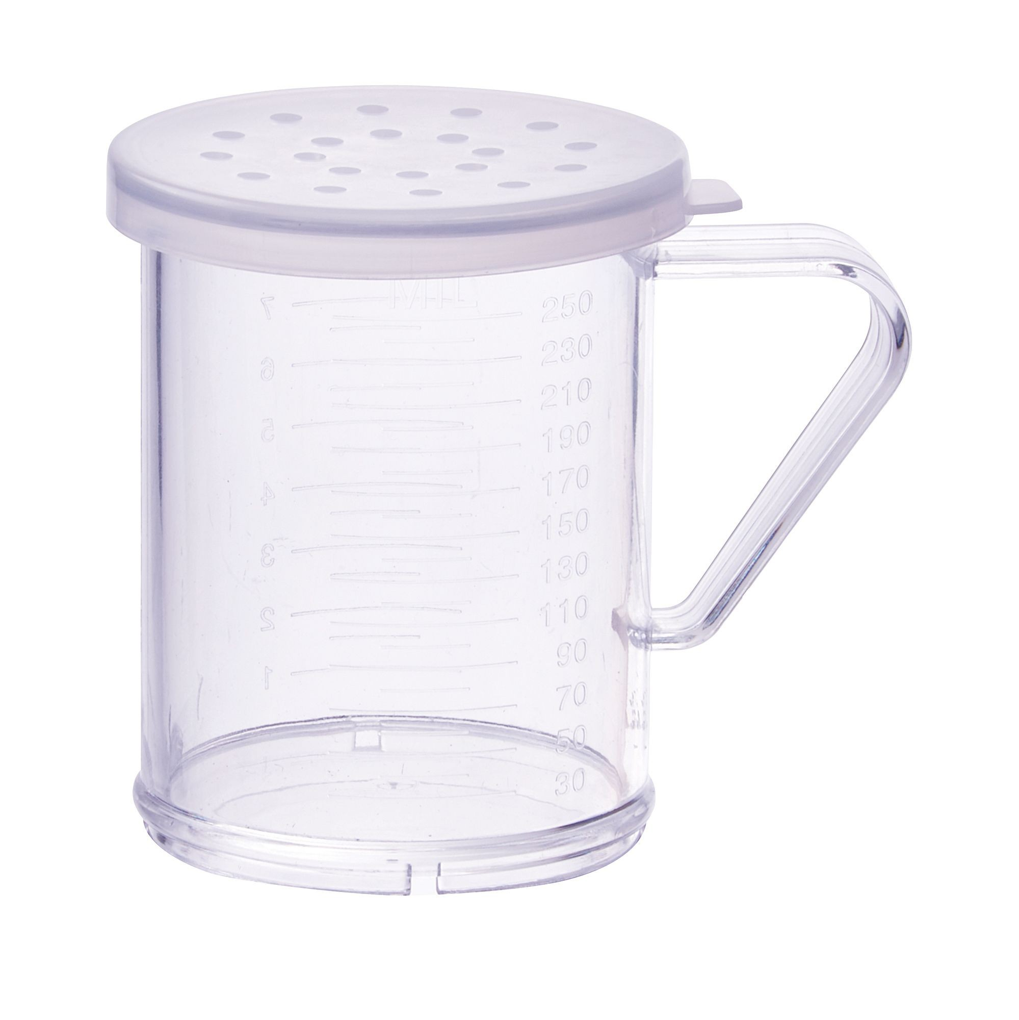 Winco PDG-10CL 10 oz. Polycarbonate Dredge with Clear Snap-On Lid, Large Holes