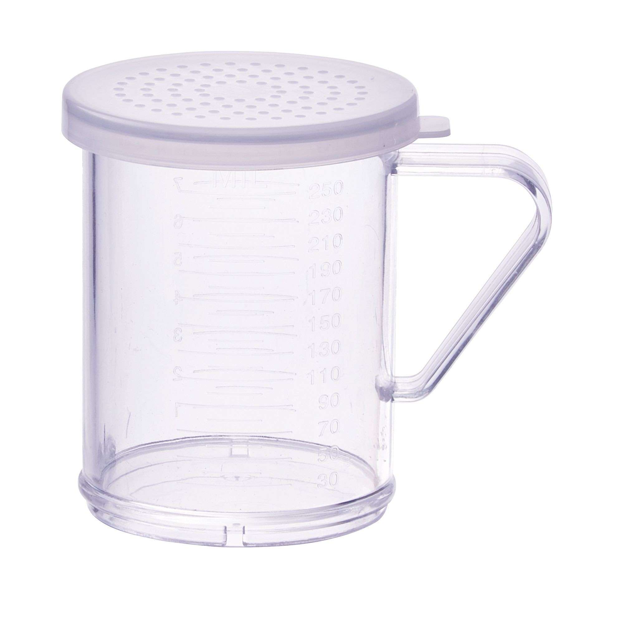Winco PDG-10CM 10 oz. Polycarbonate Dredge with Clear Snap-On Lid, Medium Holes