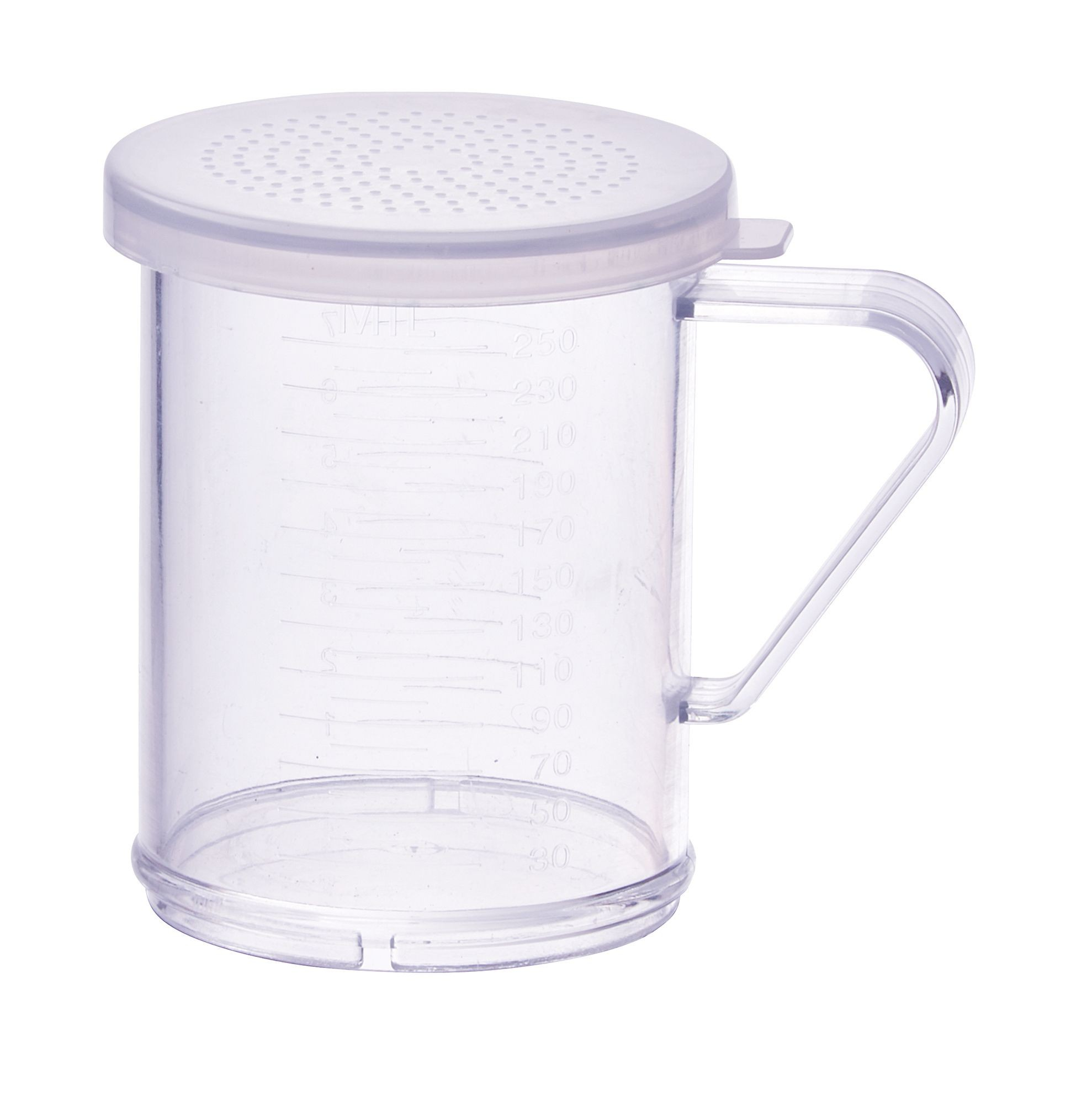 Winco PDG-10CS 10 oz. Polycarbonate Dredge with Clear Snap-On Lid, Small Holes