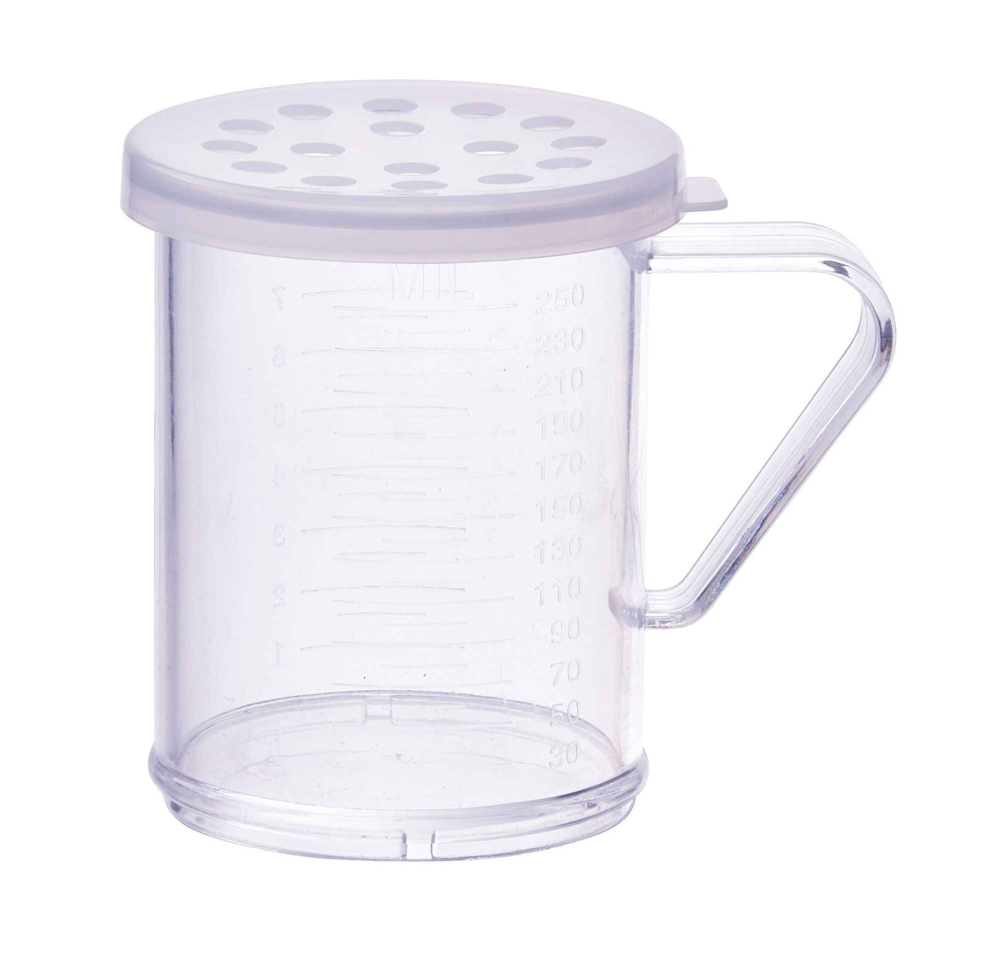 Winco PDG-10CXL 10 oz. Polycarbonate Dredge with Clear Snap-On Lid, Extra Large Holes