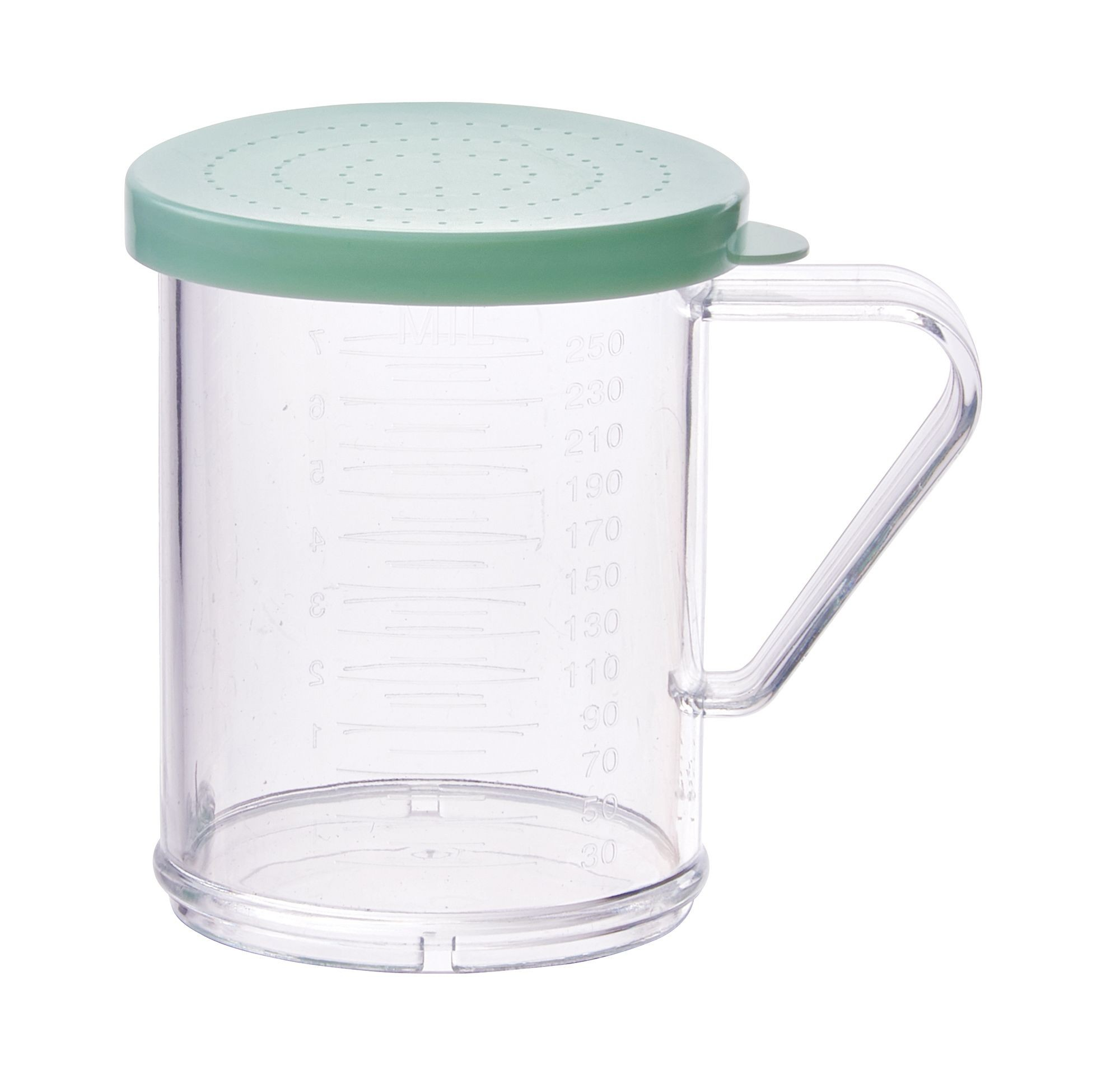 Winco PDG-10G 10 oz. Polycarbonate Dredge with Green Snap-On Lid