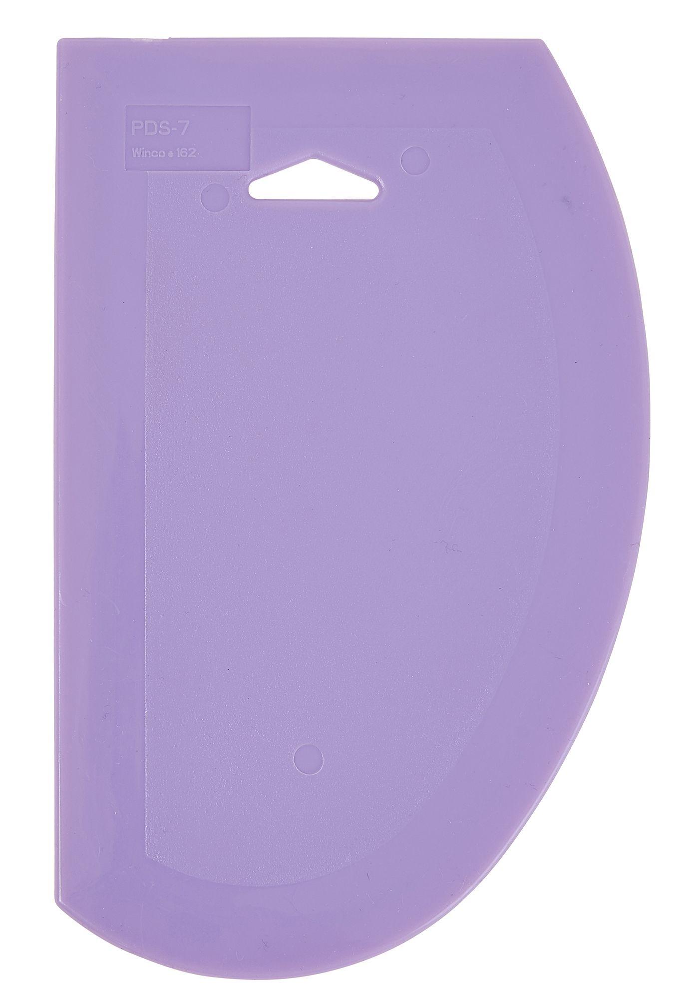 "Winco PDS-7P Purple Plastic 7-1/2"" x 4-3/4"" Dough Scraper, Allergen Free"