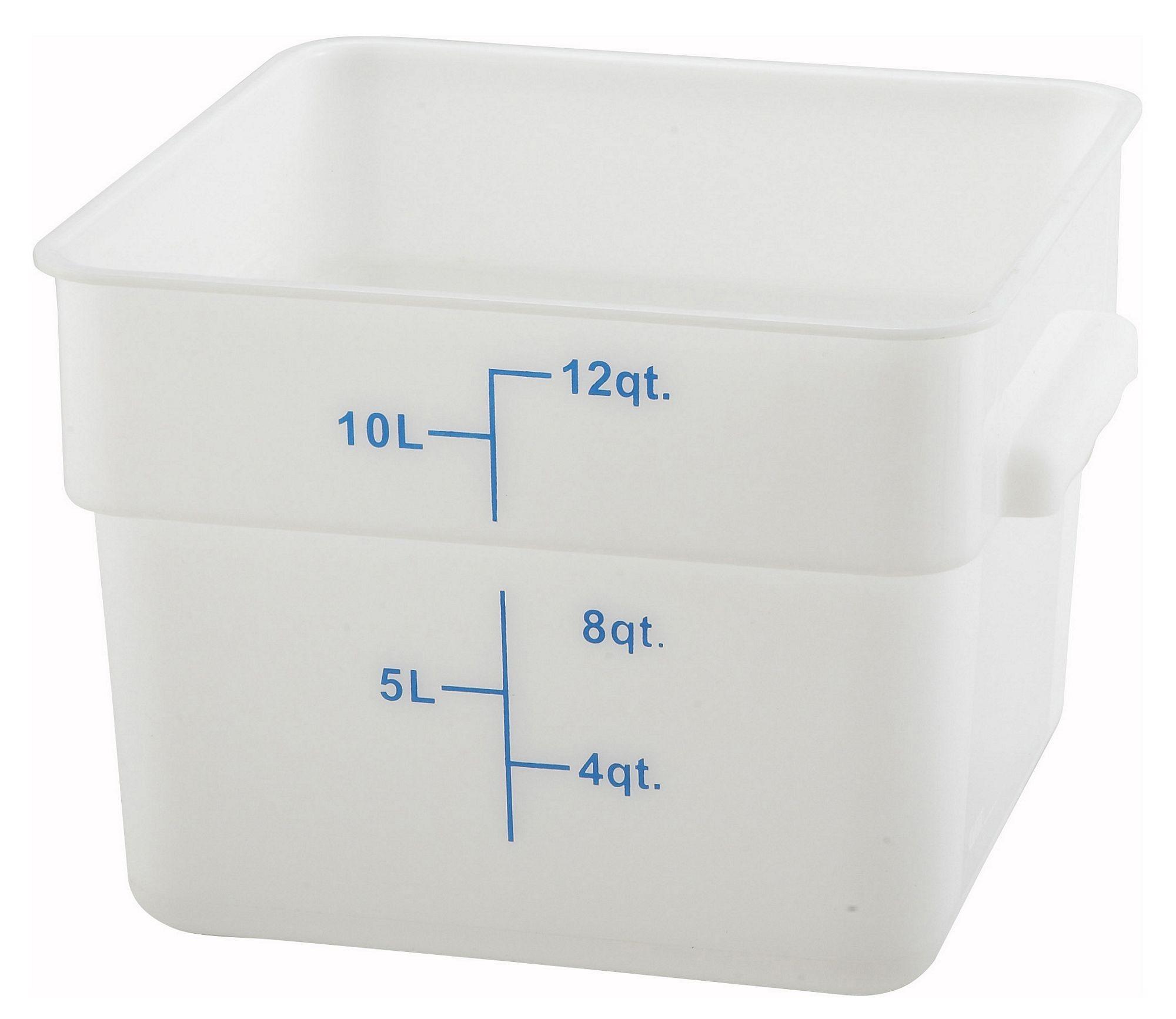Winco PESC-12 White 12 Qt. Square Food Storage Container