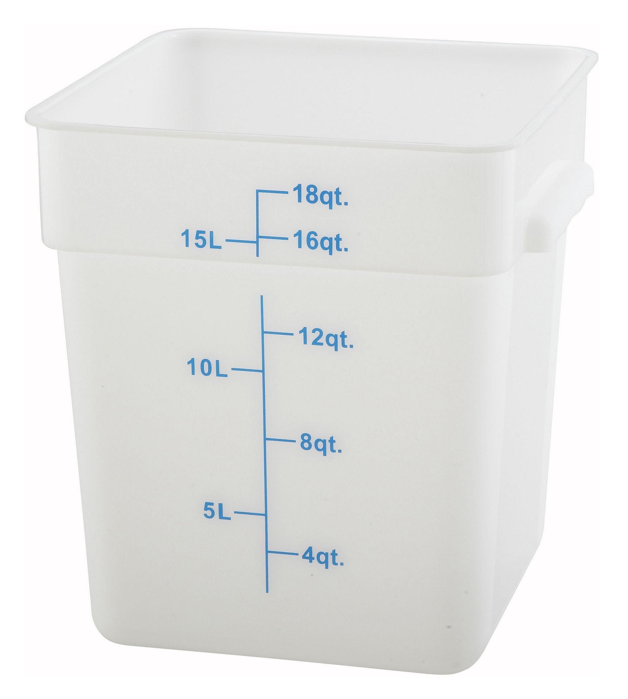 Winco PESC-18 White 18 Qt. Square Food Storage Container