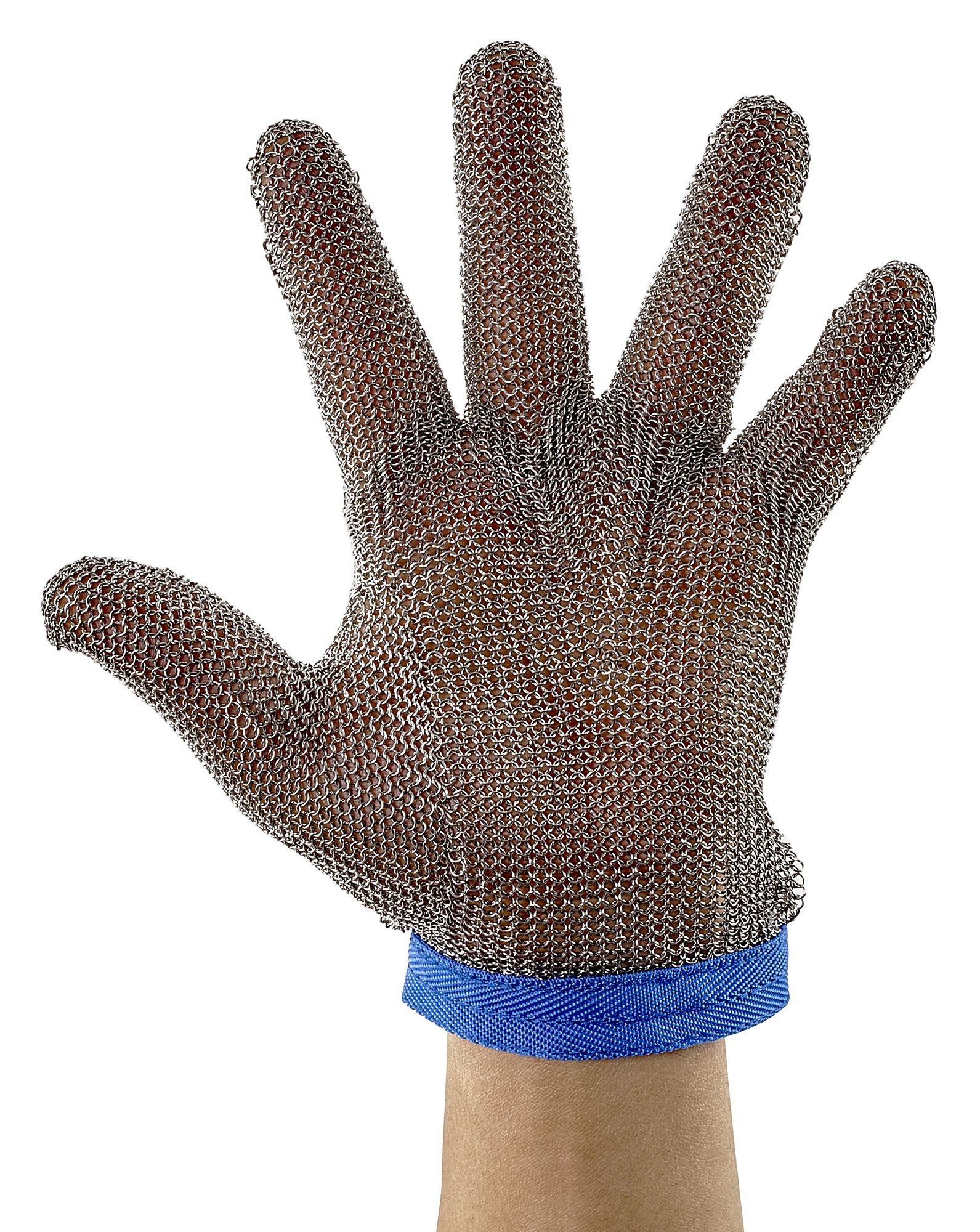 Winco PMG-1L Large Reversible Stainless Steel Blue Protective Mesh Glove