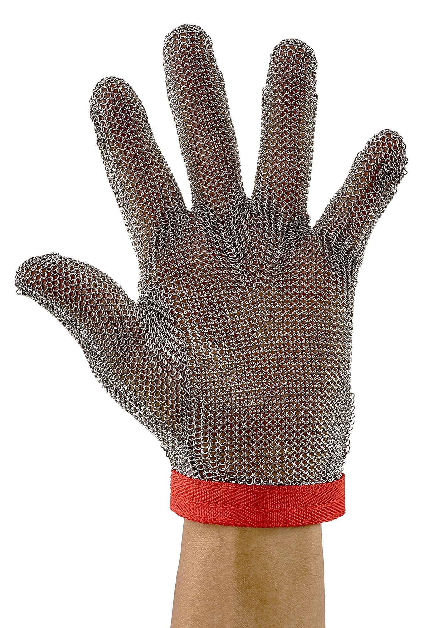 Winco PMG-1M Medium Reversible Stainless Steel Red Protective Mesh Glove
