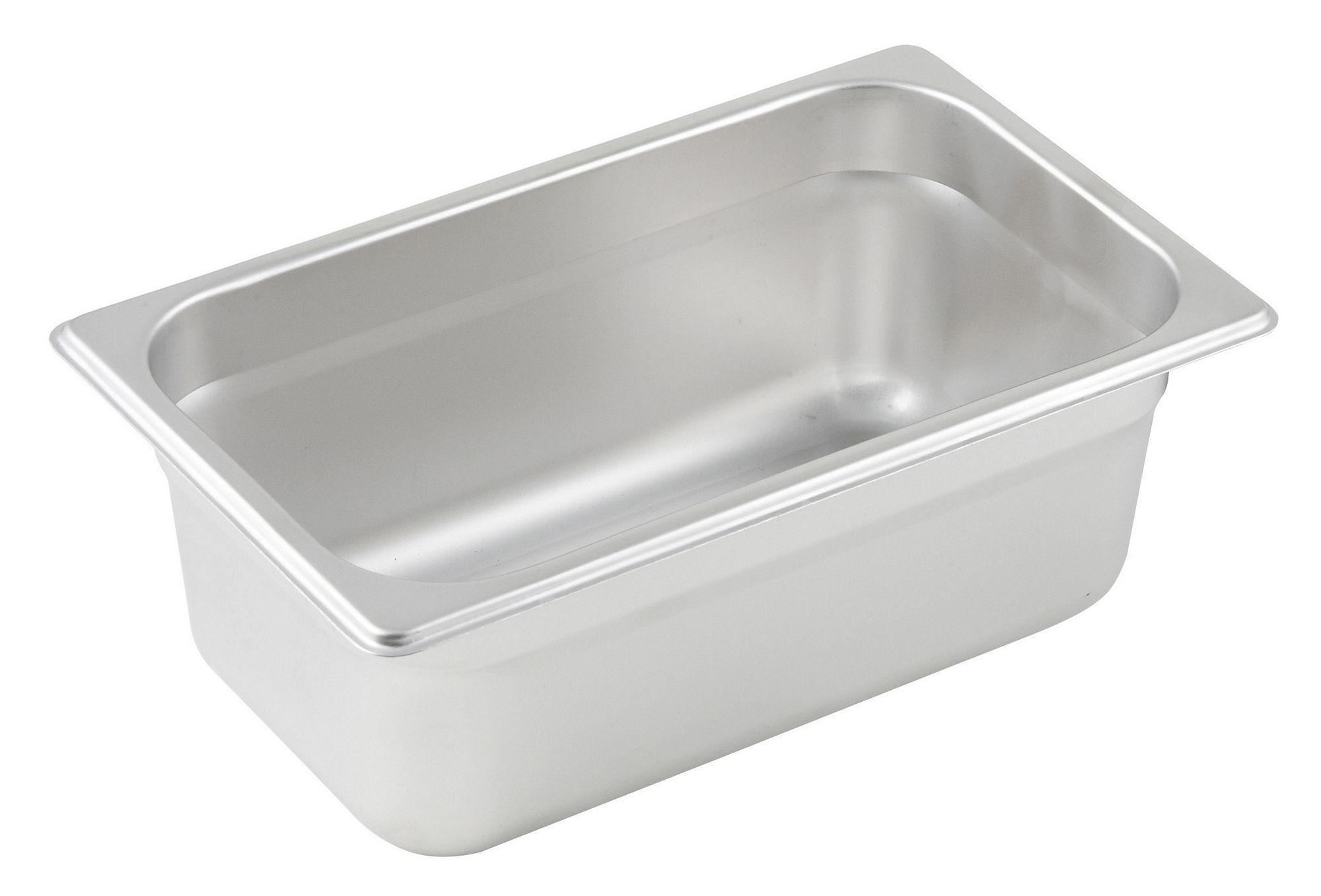 "Winco SPJL-404 1/4 Size Anti-Jam 25 Gauge Steam Table Pan 4"" Deep"
