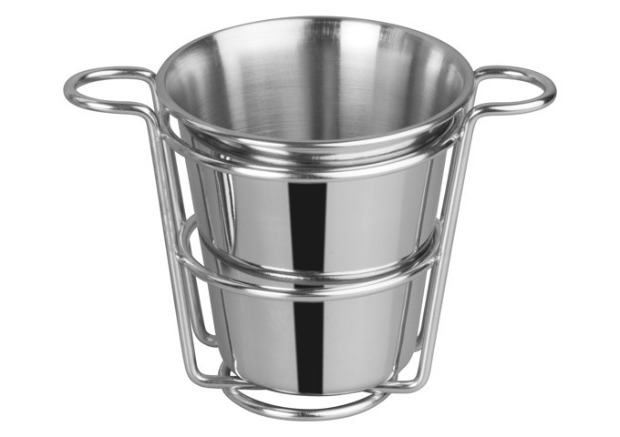 "Winco SFCW-4S 4"" Dia. Stainless Steel Fry Cup with Wire Holder"