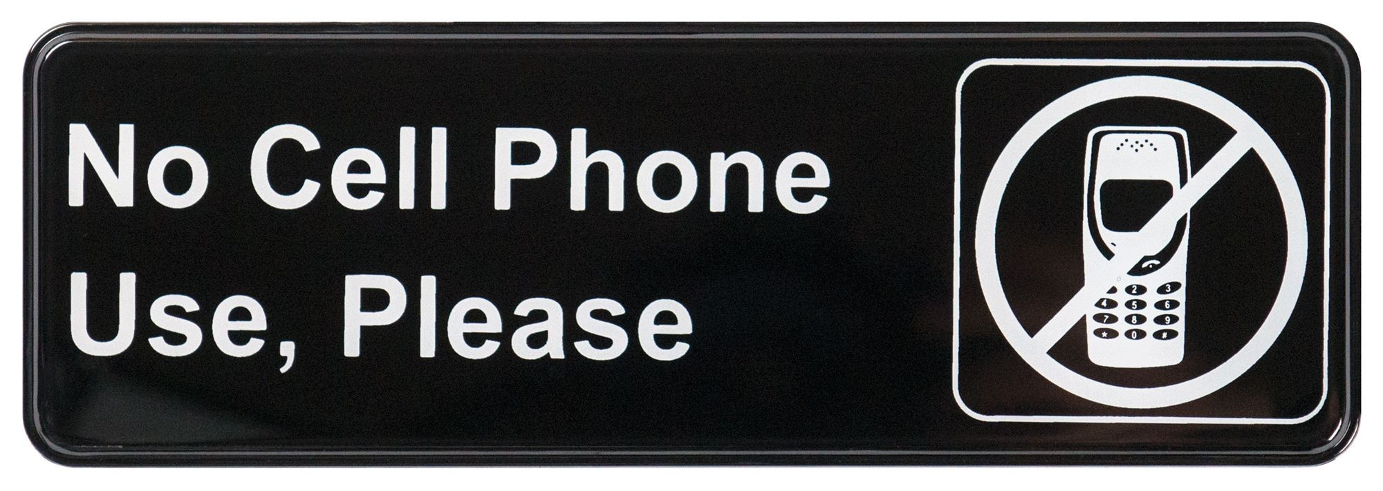 "Winco SGN-334 ""No Cell Phone Use, Please"" Information Sign 3"" x 9"""
