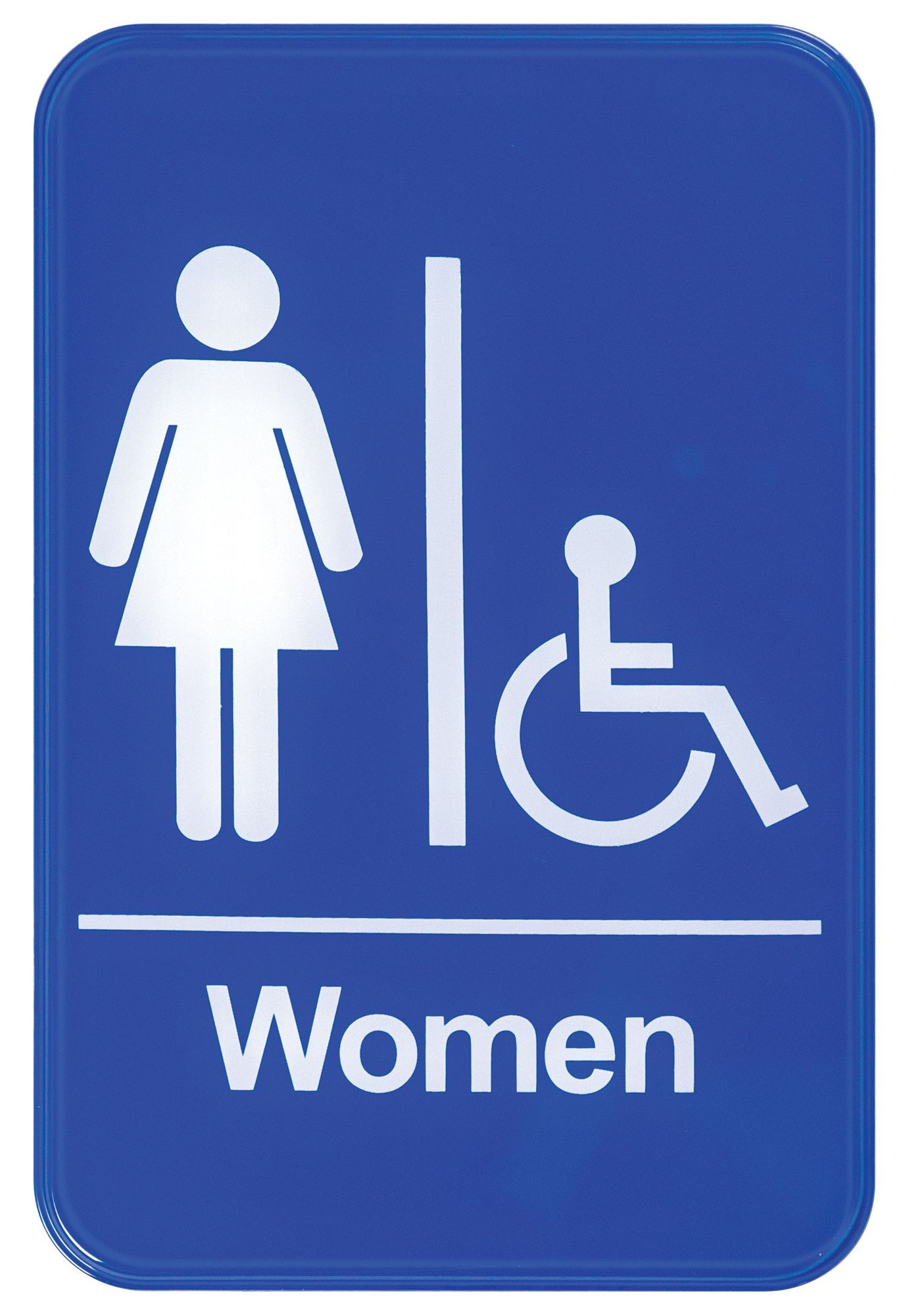 """Winco SGN-651B """"Women/Accessible"""" Information Sign, Blue 6"""" x 9"""""""
