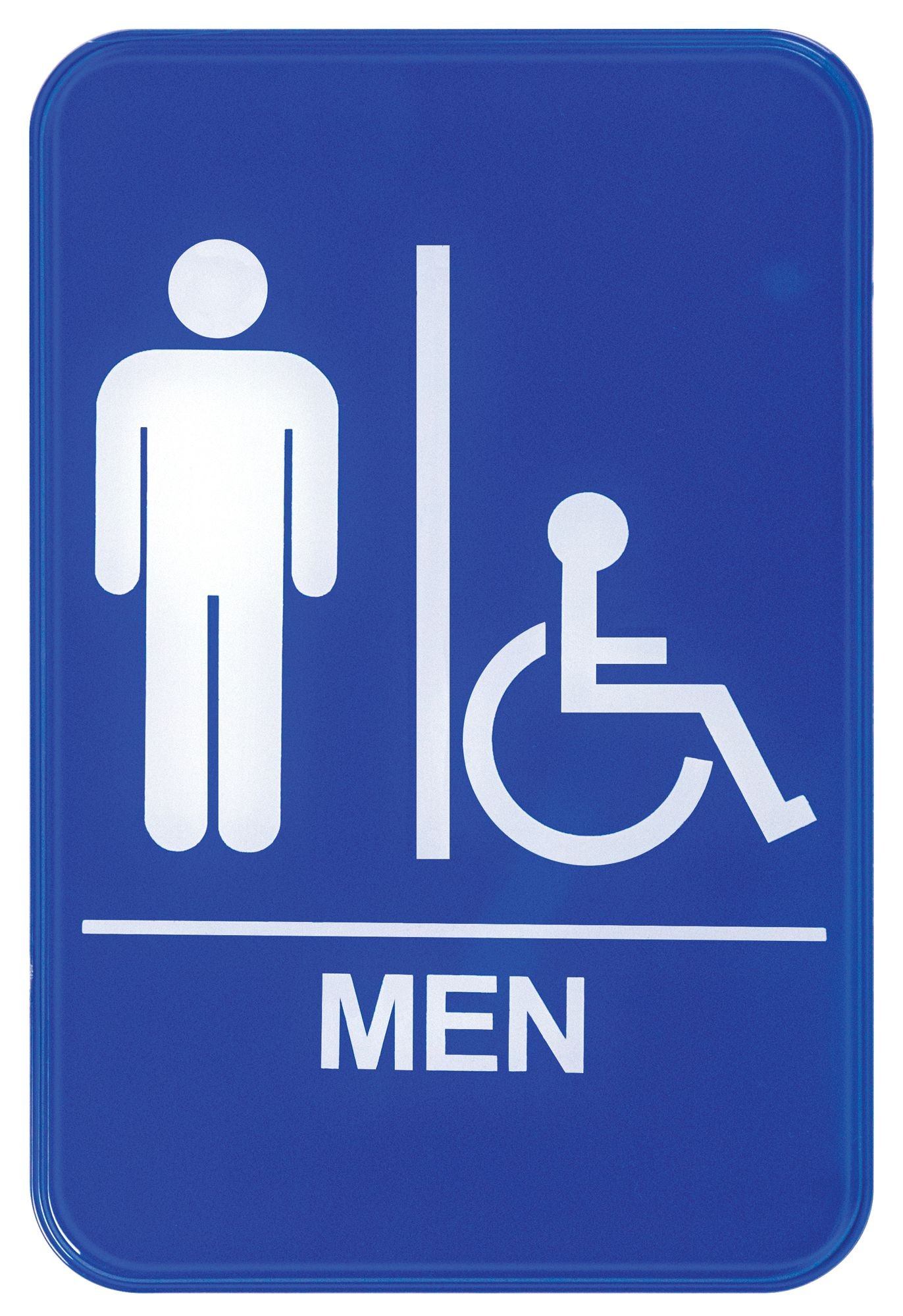 "Winco SGN-652B ""Men/Accessible"" Information Sign, Blue 6"" x 9"""