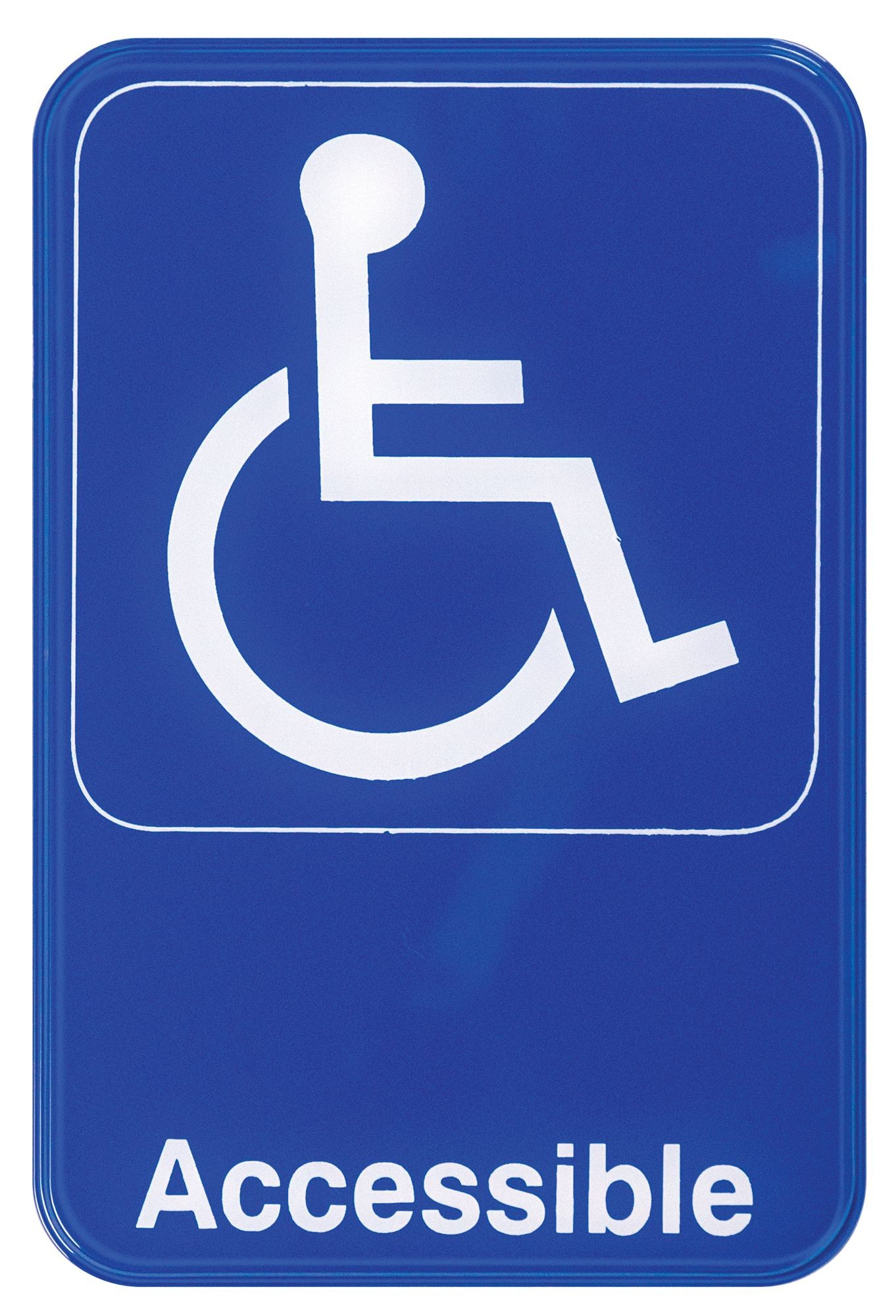 """Winco SGN-653B """"Accessible"""" Information Sign, Blue 6"""" x 9"""""""