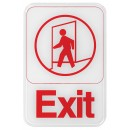 """Winco SGN-681W """"Exit"""" Information Sign, White 6"""" x 9"""""""