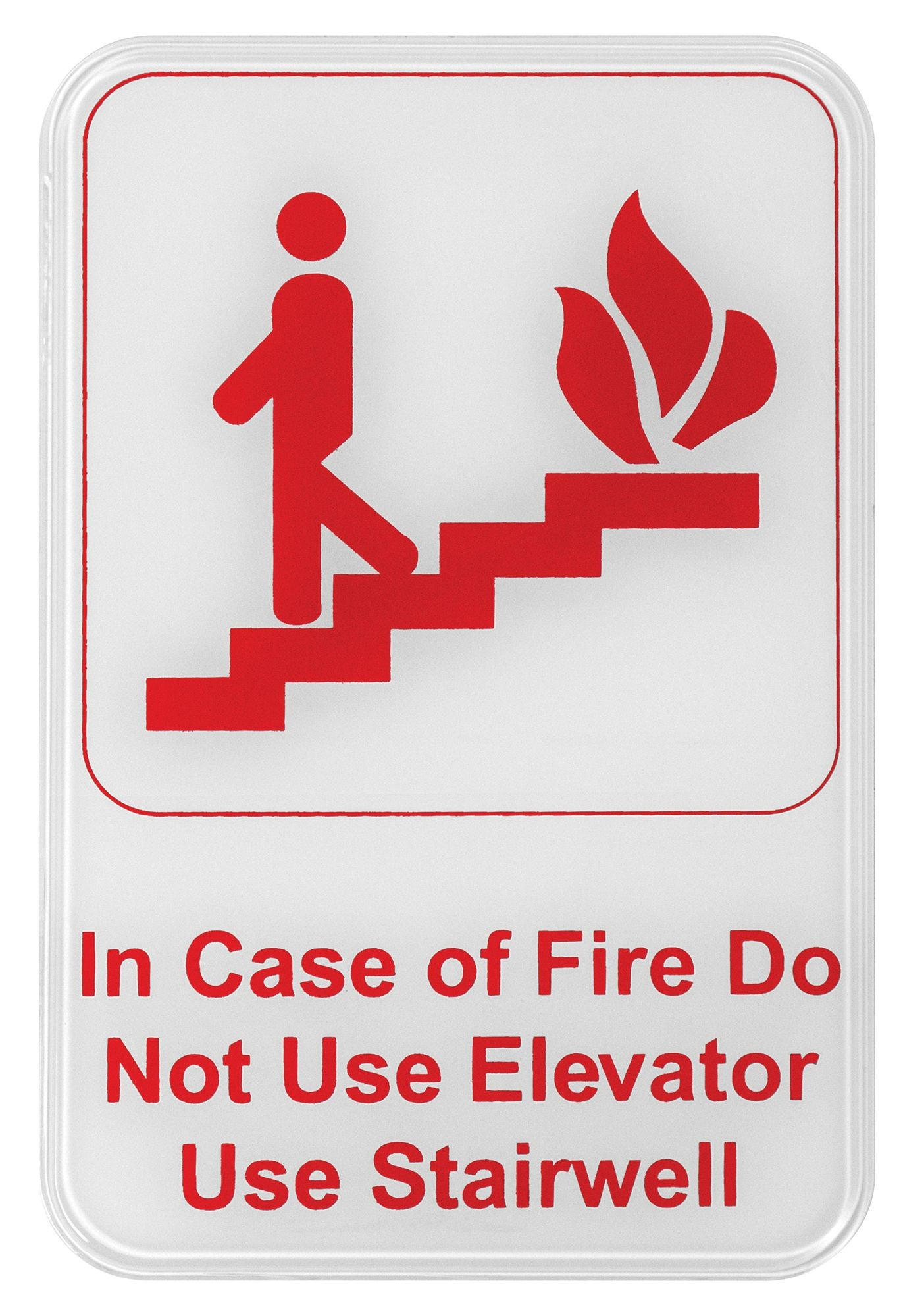 """Winco SGN-683W """"In Case of Fire Do Not Use Elevator Use Stairwell"""" Information Sign, White 6"""" x 9"""""""