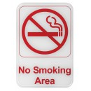 """Winco SGN-684W """"No Smoking Area"""" Information Sign, White 6"""" x 9"""""""