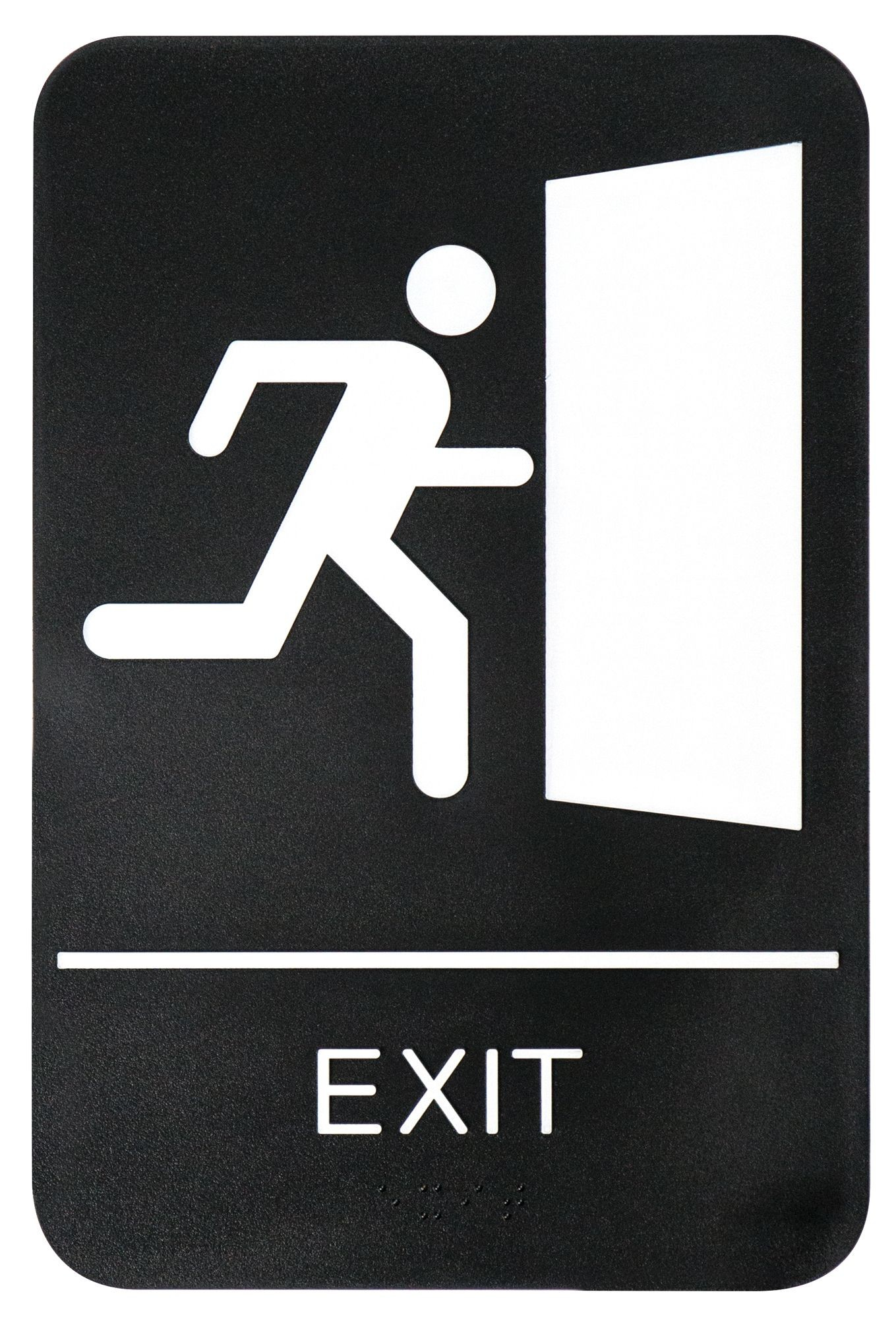 "Winco SGNB-604 Braille Information Sign, ""Exit"", 6"" x 9"""