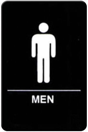 "Winco SGNB-605 Braille Information Sign, ""Men"", 6"" x 9"""