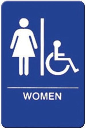 "Winco SGNB-651B Braille Information Sign, ""Women/Accessible"", 6"" x 9"""