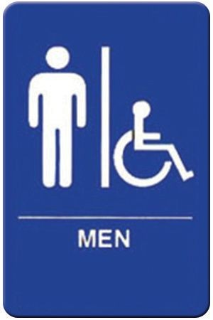 "Winco SGNB-652B Braille Information Sign, ""Men/Accessible"", 6"" x 9"""