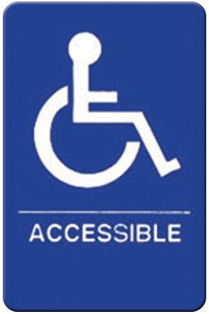 "Winco SGNB-653B Braille Information Sign, ""Accessible"", 6"" x 9"""