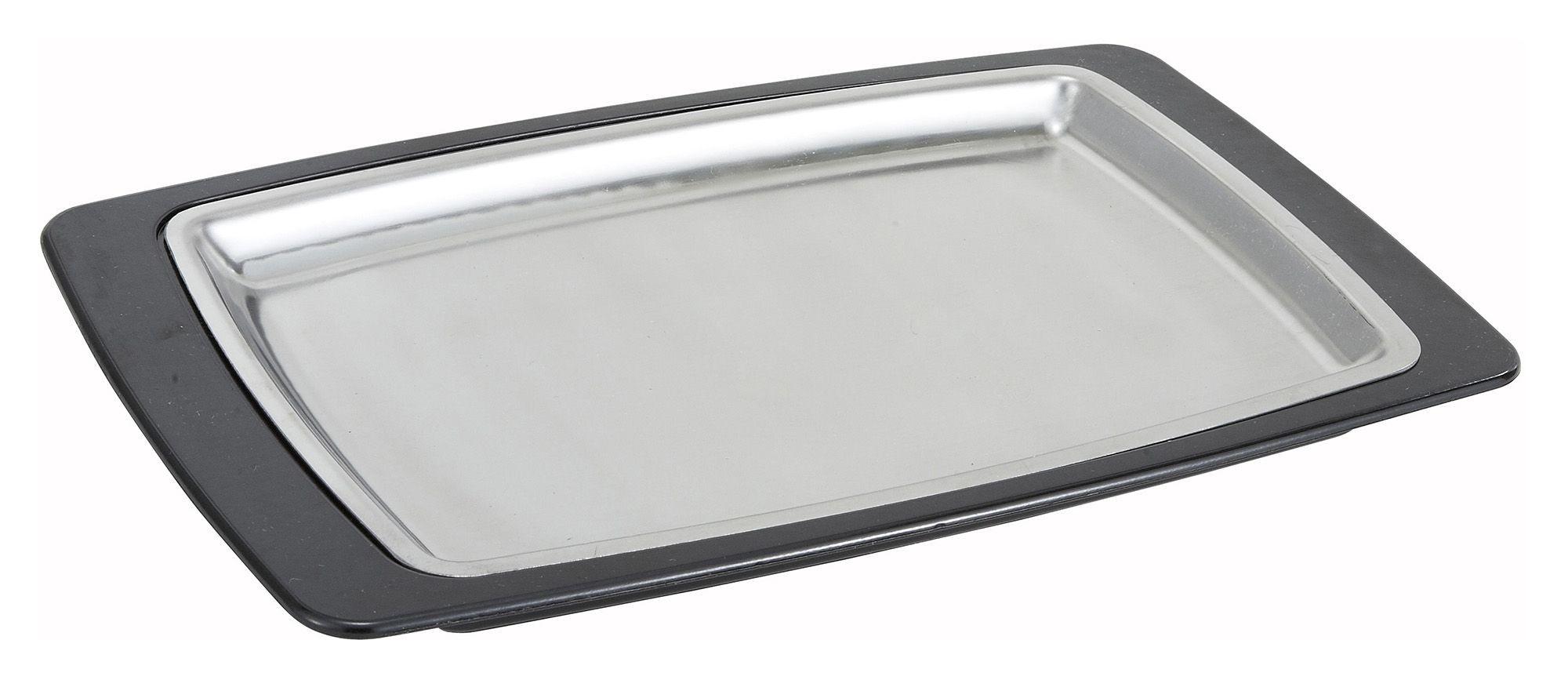 """Winco SIZ-11BST Rectangular Stainless Steel Sizzling Platter and Bakelite Underliner 11"""" x 7"""""""