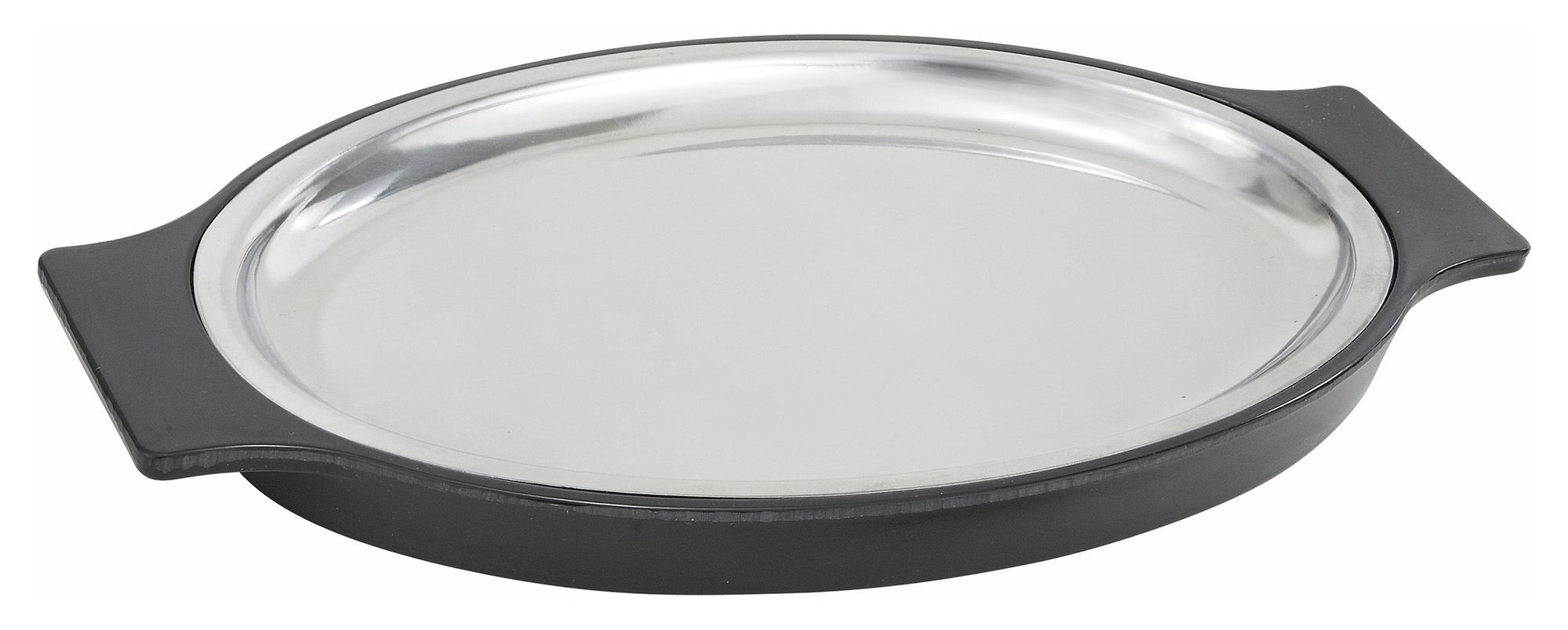"Winco SIZ-11ST Oval Stainless Steel Sizzling Platter with Bakelite Underliner 11"" x 8"""