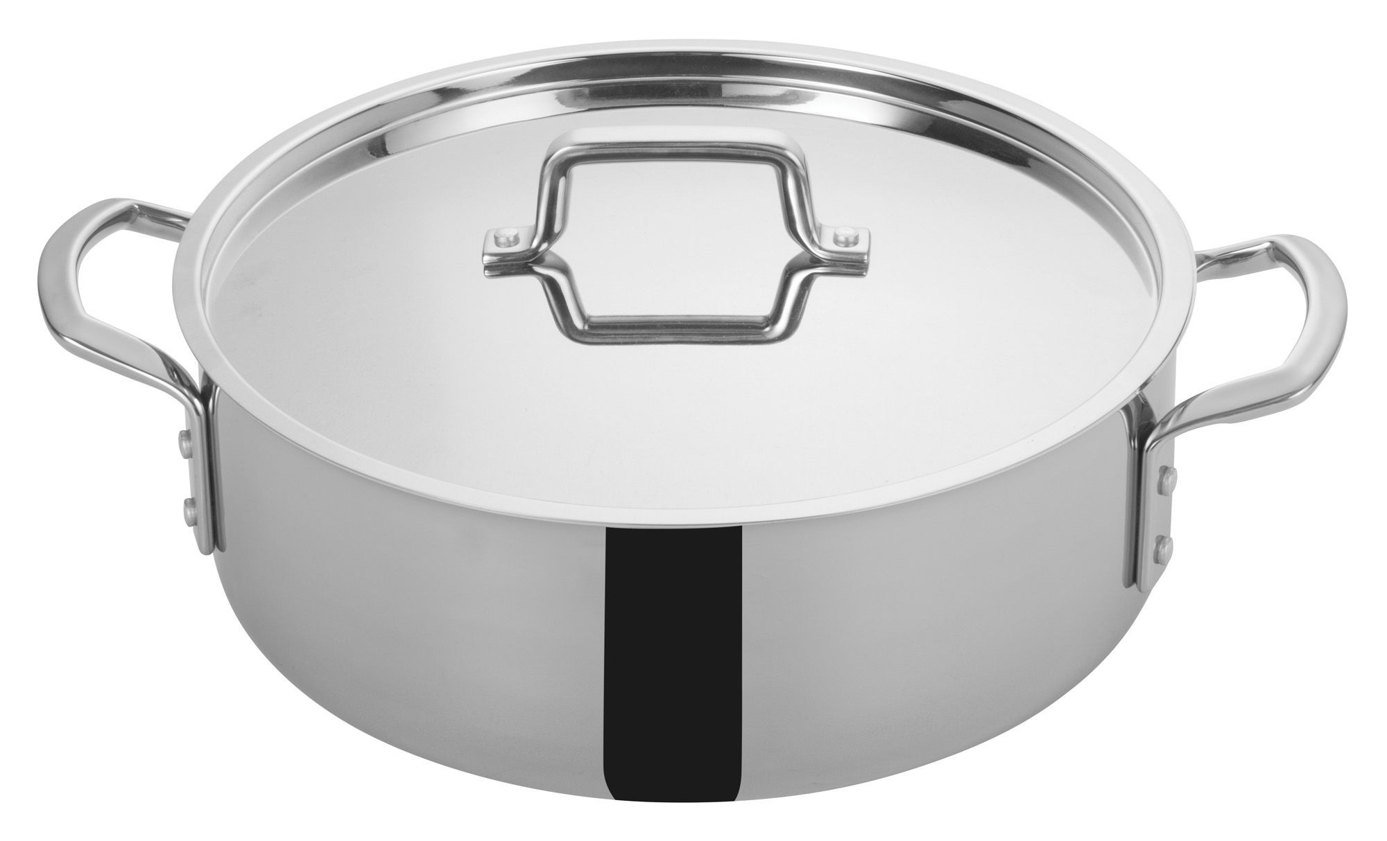 Winco TGBZ-12 Tri-Ply Stainless Steel 12 Qt. Brazier with Cover
