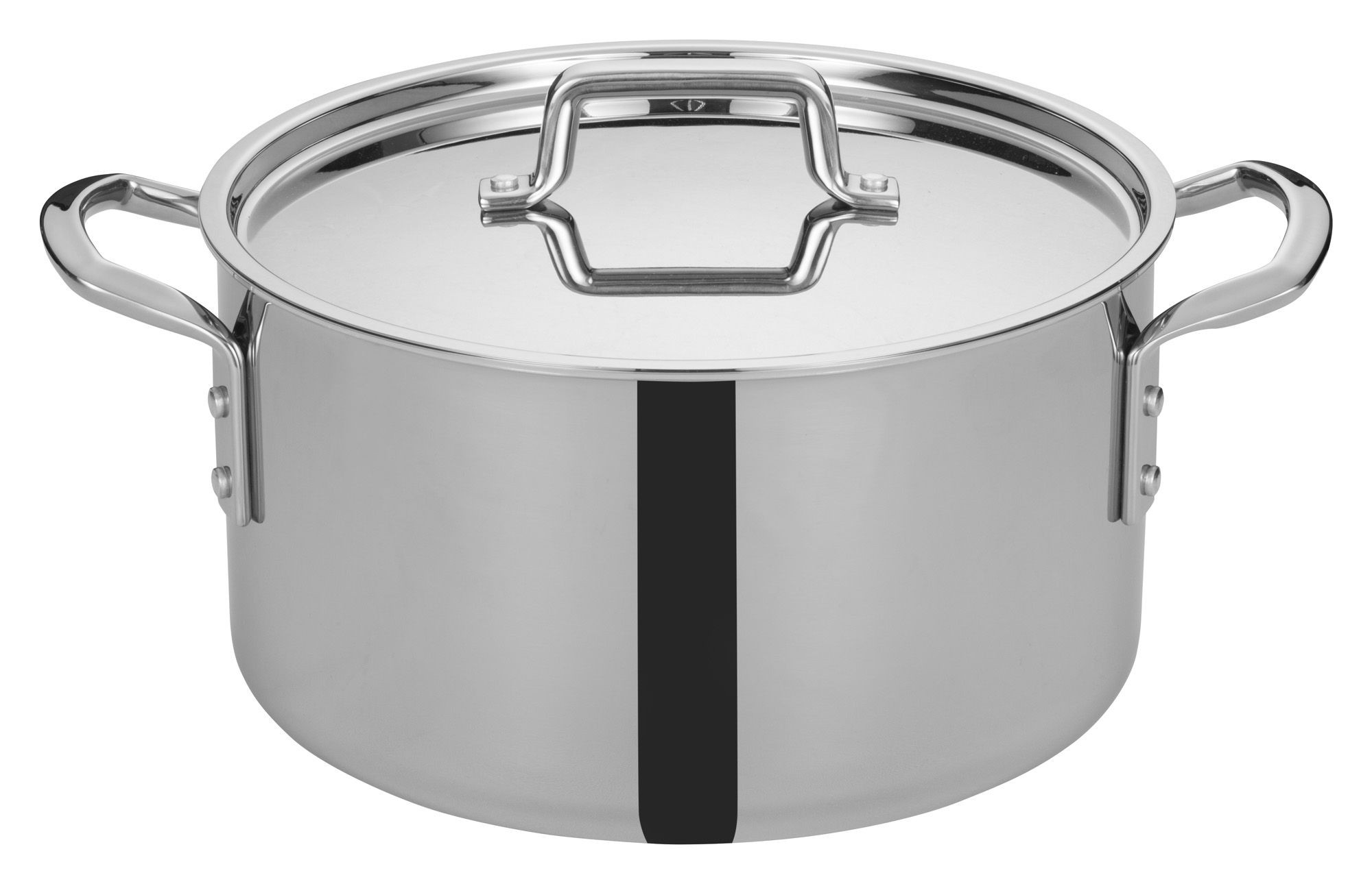 Winco TGSP-12 Tri-Ply Stainless Steel 12 Qt. Stock Pot with Cover