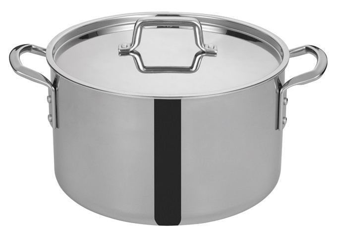 Winco TGSP-16 Tri-Ply Stainless Steel 16 Qt. Stock Pot with Cover