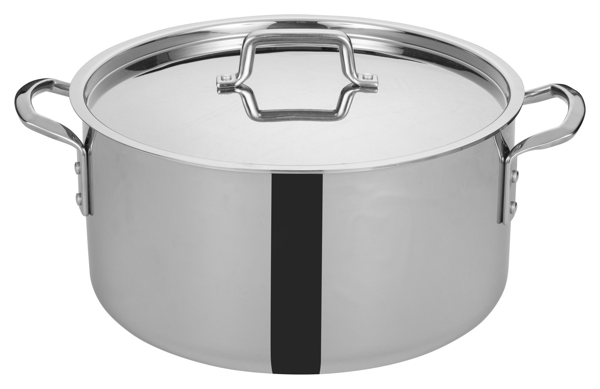 Winco TGSP-20 Tri-Ply Stainless Steel 20 Qt. Stock Pot with Cover