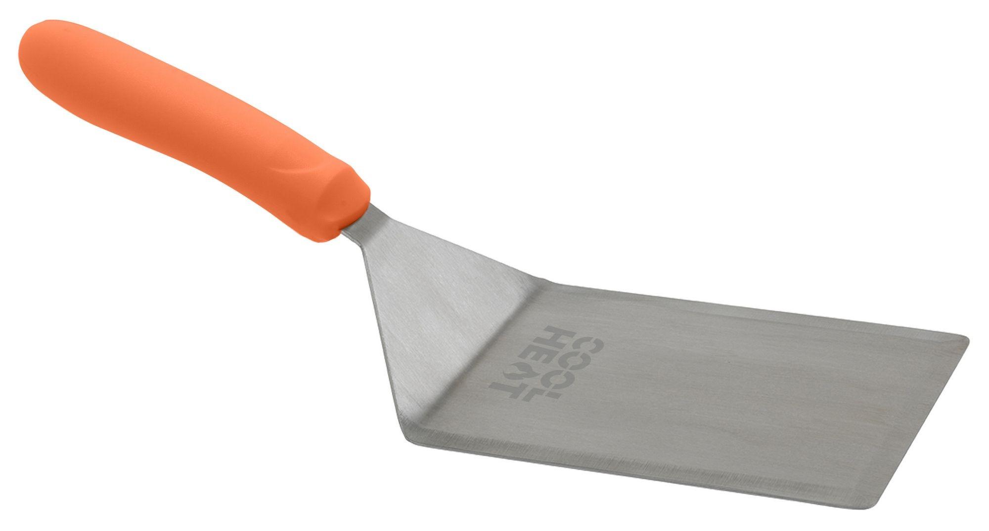 "Winco TNH-63 Extra Heavy Turner with Cutting Edge and Orange Nylon Handle, 5"" x 6"" Blade"