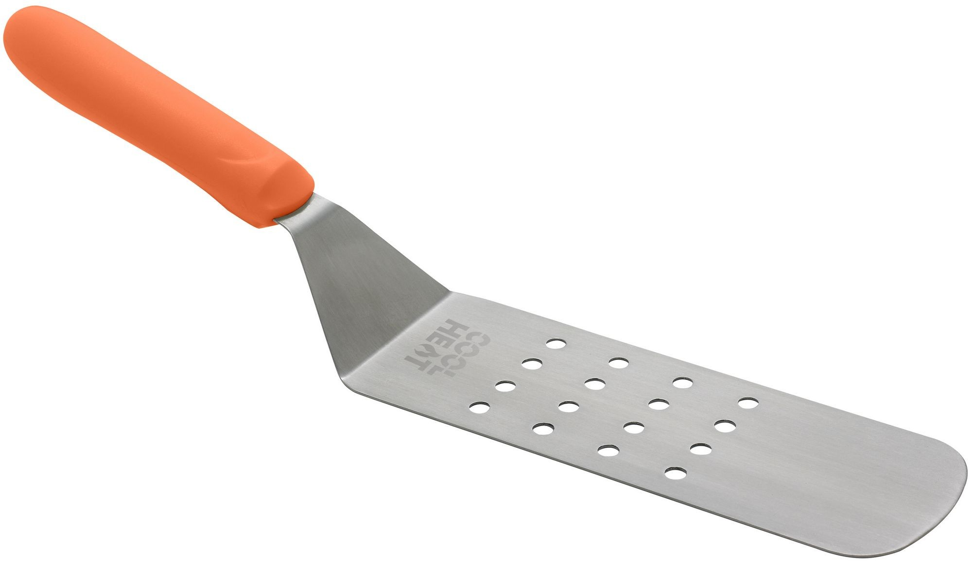 "Winco TNH-91 Stainless Steel Perforated Offset Flexible Turner with Orange Nylon Handle, 8-1/4"" x 2-7/8"""