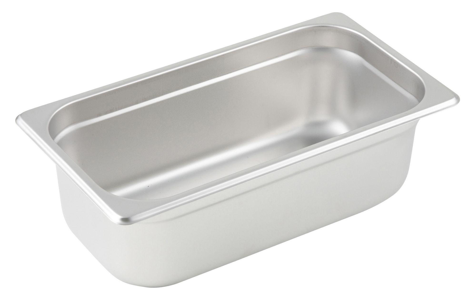 "Winco SPJM-304 1/3 Size Anti-Jam 24 Gauge Steam Table Pan 4"" Deep"